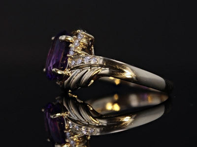 RINGS - 14k Yellow Gold Estate Amethyst And .24cttw Diamond Ring