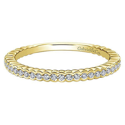 RINGS - 14K Yellow Gold Half Bezel Round Diamond Stackable Ring