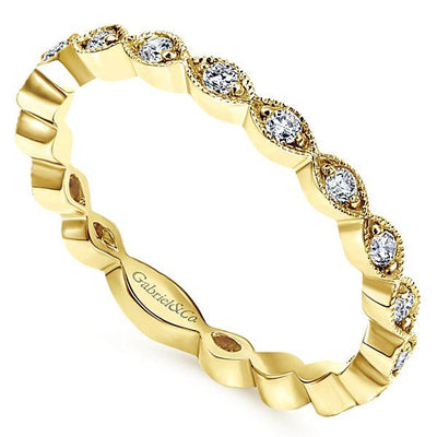 RINGS - 14K Yellow Gold Vintage Marquise Station Diamond Stackable Ring