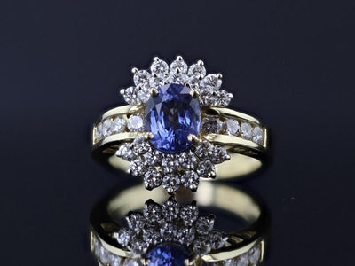 RINGS - 18k Yellow Gold Estate Sapphire And Diamond Ring