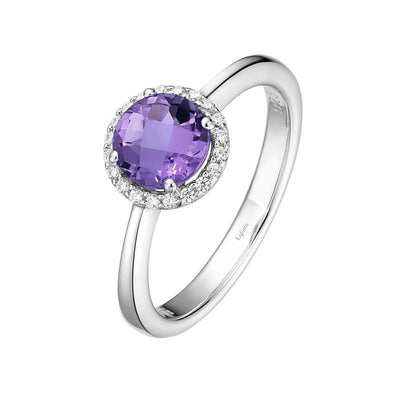 RINGS - Lafonn Amethyst And Simulated Diamond Halo Birthstone Ring