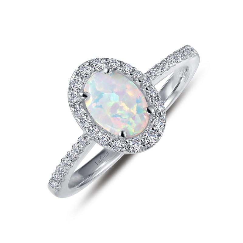 02a2d903b RINGS - Lafonn Sterling Silver Oval Halo Simulated Opal And Diamond Ring