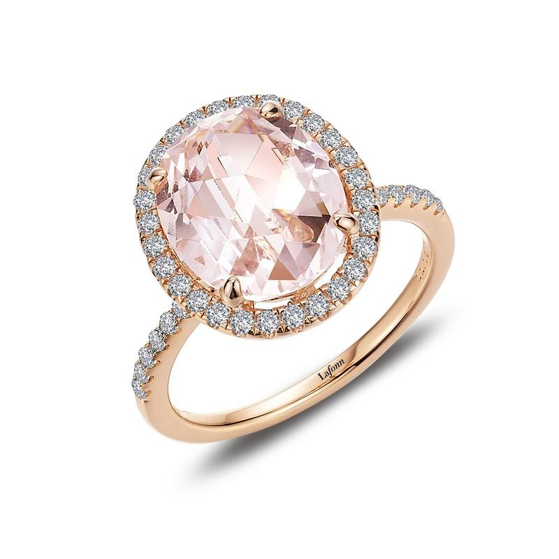 bcca4ffa6 RINGS - Oval Simulated Morganite And Rose Gold Bonded Sterling Silver Halo  Ring