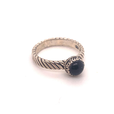 Samuel B. Sterling Silver Black Onyx Stackable Birthstone Ring