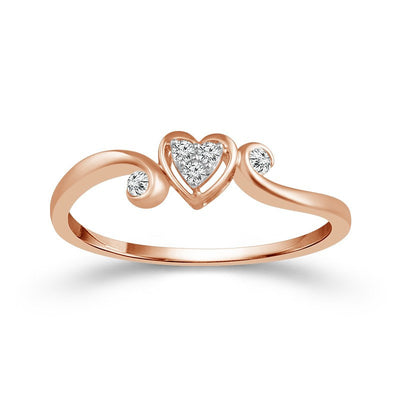 UNDER $200 - 10K Rose Gold Heart Shaped Cluster Diamond Promise Ring