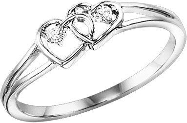 UNDER $200 - 10K White Gold Diamond Double Heart Ring