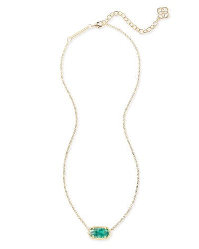 UNDER $200 - Kendra Scott Elisa Emerald Cat's Eye Gold Necklace
