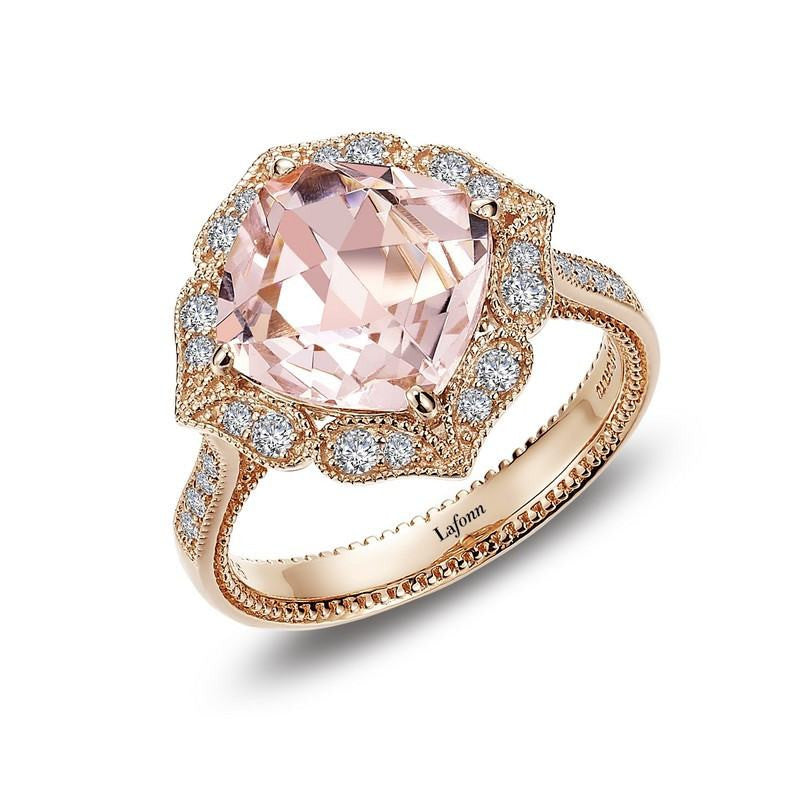 7fffd26e1 UNDER $200 - Lafonn Simulated Morganite Rose Gold Plated Sterling Silver  And Simulated Diamond Ring