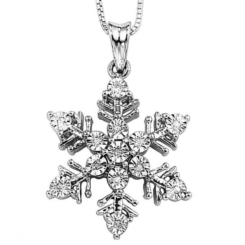 Sterling silver diamond snowflake pendant mullen jewelers under 200 sterling silver diamond snowflake pendant mozeypictures Gallery