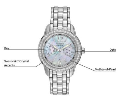 Citizen Eco-Drive Ladies Silhouette Crystal Stainless Steel Watch with Swarovski Crystals and Black Mother of Pearl Dia
