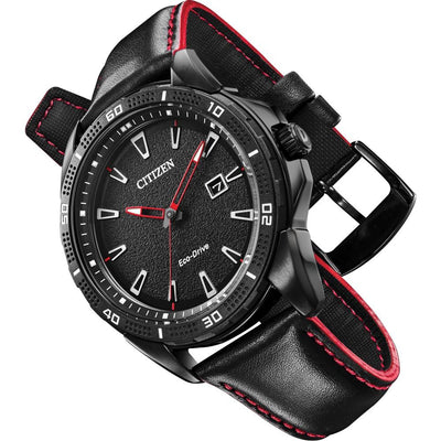 Citizen Eco-Drive Men's Watch with Red Accent Strap