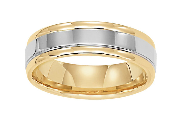 14k Two Tone Yellow And White Gold 6mm Wide Mens 3 Band