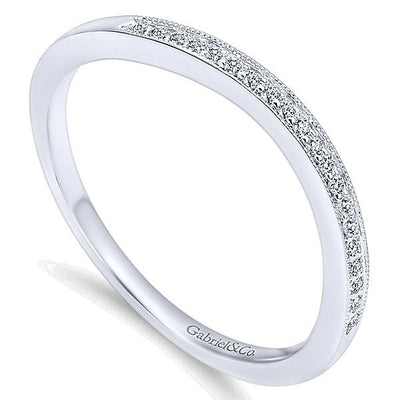 WEDDING - 14k White Gold .06cttw Bead Set Contoured Diamond Wedding Band