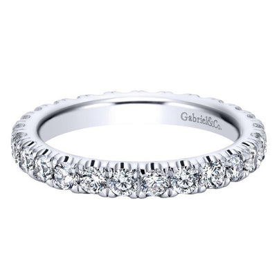 WEDDING - 14K White Gold 1.00cttw French Pave Set Eternity Diamond Band