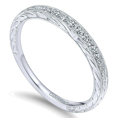 WEDDING - 14K White Gold 1/10cttw Bead Set Diamond Wedding Band With Engraved Band