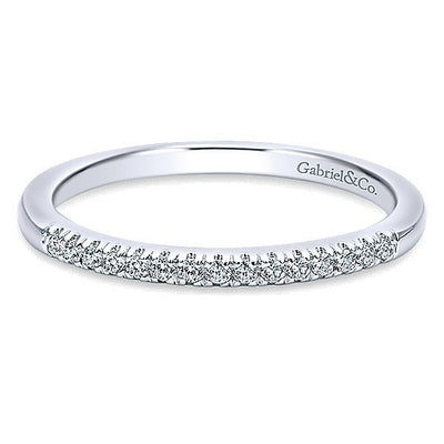 WEDDING - 14K White Gold 1/10cttw French Pave Diamond Wedding Band