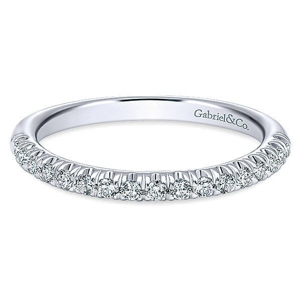 14K White Gold 1 4cttw French Pave Set Diamond Wedding Band Mullen Jewelers