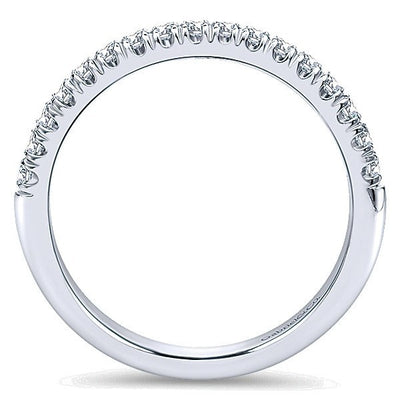 WEDDING - 14K White Gold 1/4cttw French Pave Set Diamond Wedding Band