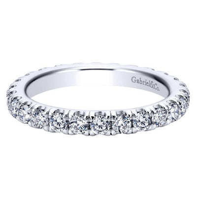 WEDDING - 14K White Gold 1.50cttw French Pave Set Eternity Diamond Band
