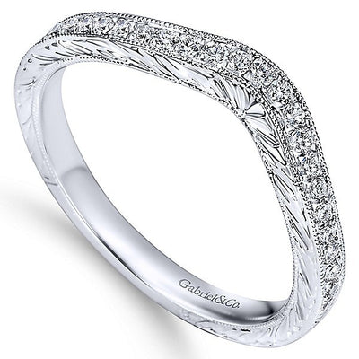 WEDDING - 14K White Gold 1/5cttw Bead Set Contoured Diamond Wedding Ring With Engraved Band