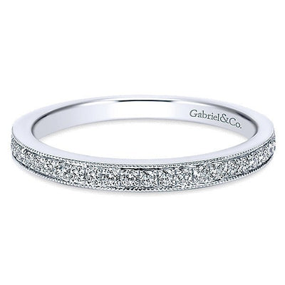 WEDDING - 14K White Gold 1/5cttw Bead Set Diamond Wedding Band