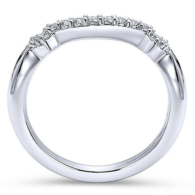 WEDDING - 14K White Gold 1/5cttw Contoured Diamond Wedding Band