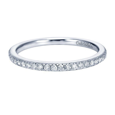 WEDDING - 14K White Gold 1/5cttw Pave Diamond Wedding Band