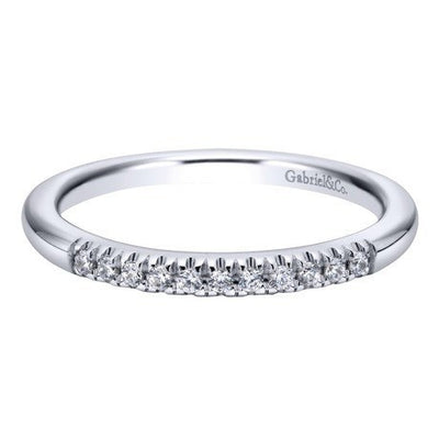 WEDDING - 14K White Gold .10cttw French Pave Diamond Band
