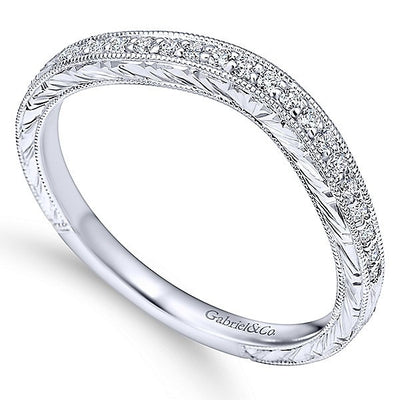 WEDDING - 14K White Gold .13cttw Bead Set Contoured Diamond Wedding Band With Engraved Shank