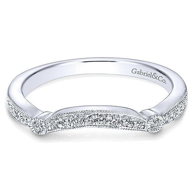 WEDDING - 14K White Gold .13cttw Contoured Vintage Diamond Wedding Band