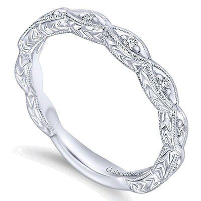 WEDDING - 14k White Gold .13cttw Marquise Shaped Station Diamond Wedding Band With Engraved Shank