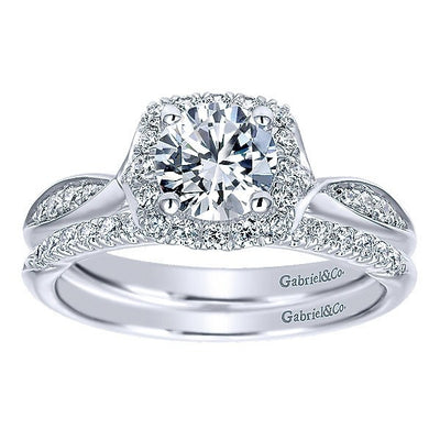 WEDDING - 14k White Gold .13cttw Split Prong Diamond Wedding Band