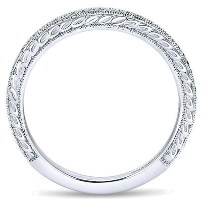 WEDDING - 14K White Gold .14cttw Bead Set Contoured Diamond Wedding Band With Engraved Shank