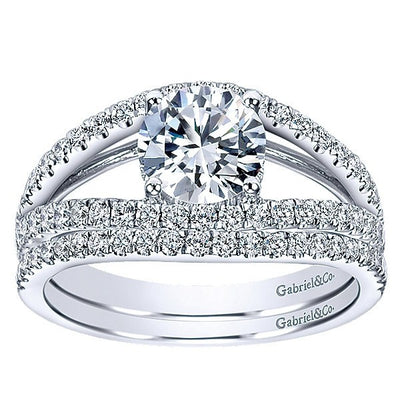 WEDDING - 14k White Gold .18cttw Pave Set Round Diamond Wedding Band