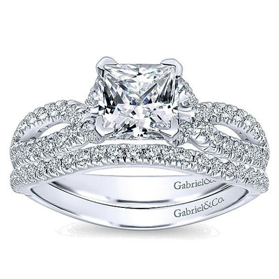 WEDDING - 14k White Gold .18cttw Prong Set Contoured Diamond Wedding Band