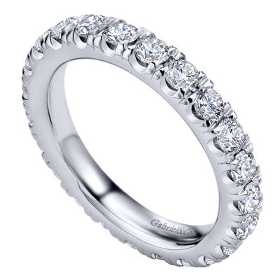 WEDDING - 14K White Gold 2.00cttw French Pave Set Eternity Diamond Band