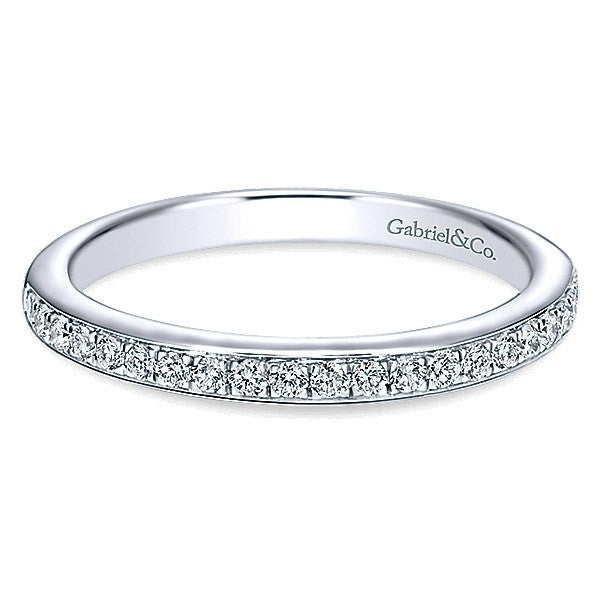 14K White Gold 21cttw Bead Set Diamond Wedding Band