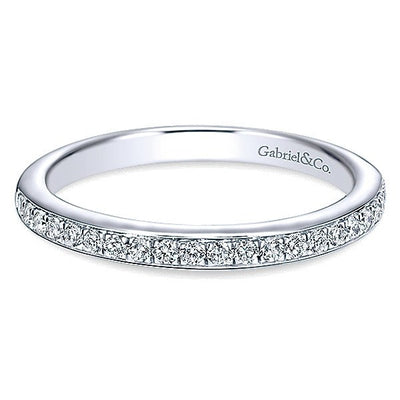 WEDDING - 14K White Gold .21cttw Bead Set Diamond Wedding Band