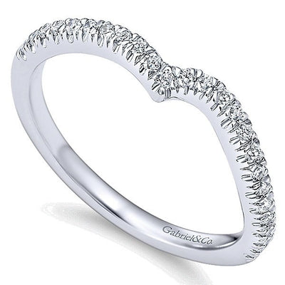 WEDDING - 14K White Gold .22cttw Bead Set Contoured Diamond Wedding Band