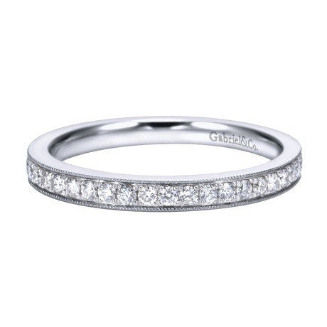 14K White Gold 25cttw Bead Set Diamond Band