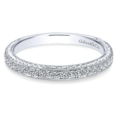 WEDDING - 14K White Gold .30cttw Bead Set Round Diamond Wedding Band With Engraved Shank