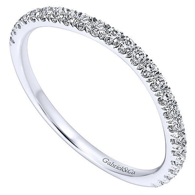 WEDDING - 14k White Gold .31cttw Split Prong Contoured Diamond Wedding Band