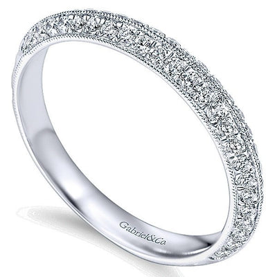WEDDING - 14k White Gold .36cttw Double Row Angled Diamond Wedding Band With Engraved Shank