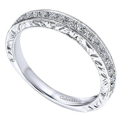WEDDING - 14k White Gold .37cttw Bead Set Round Diamond Wedding Band With Engraved Shank