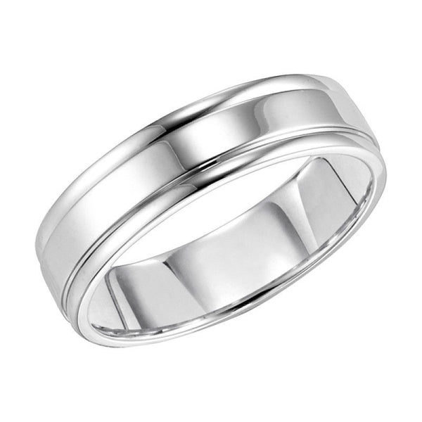14k white gold 6mm wide mens 3 band style polished wedding