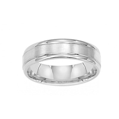 WEDDING - 14k White Gold 6mm Wide Mens 3-band Style Raised Wedding Band