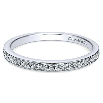 WEDDING - 14K White Gold Bead Set .18cttw Diamond Wedding Band