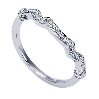 WEDDING - 14K White Gold Contoured Bead Set Diamond Wedding Band #308B