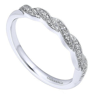 WEDDING - 14k White Gold Ornate Diamond Wedding Band With Braided Design