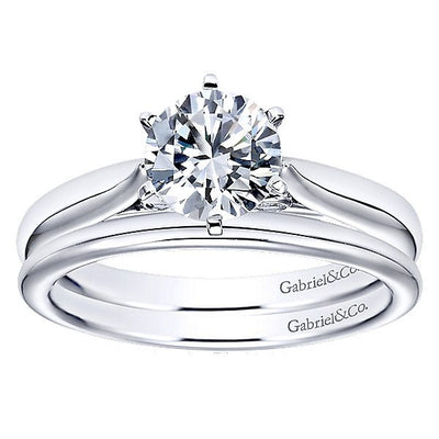 WEDDING - 14K White Gold Polished Rounded Wedding Band